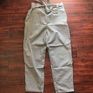 High waist paper bag pants